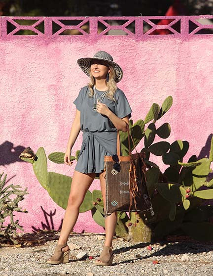 DUSTY BLUE TIE-WAIST ROMPER