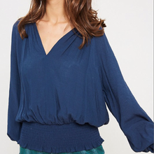 Load image into Gallery viewer, BLUE V-NECK BLOUSE