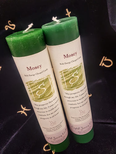 Green Money Reiki Charged Candles