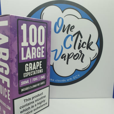 100 Large E-liquids | Grape Expectations | 100ml | 70% VG | 0mg | Short Fill | FREE NIC SHOTS - One Click Vapor