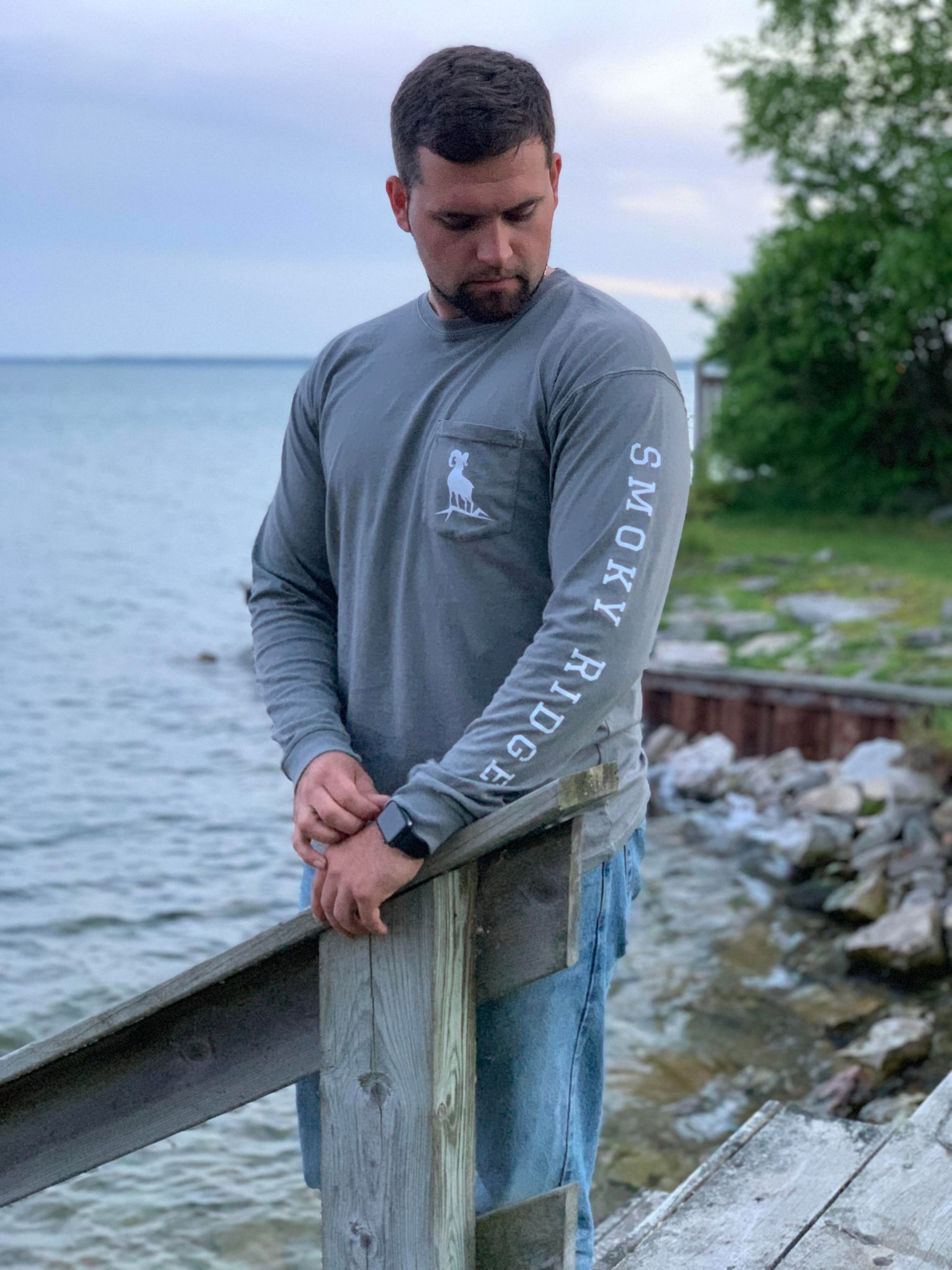 Pocket T-Shirt - Light Grey Long Sleeve