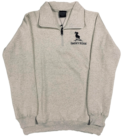 1/4 Zip Crewneck - Heather Grey