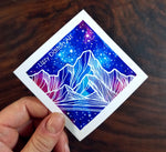 Galaxy Mountains Sticker