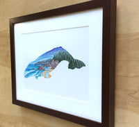 Northwest Whale Framed Original Drawing