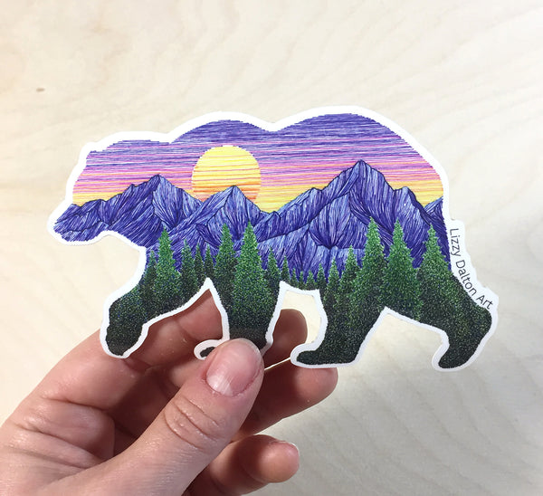 Sunset Bear Sticker