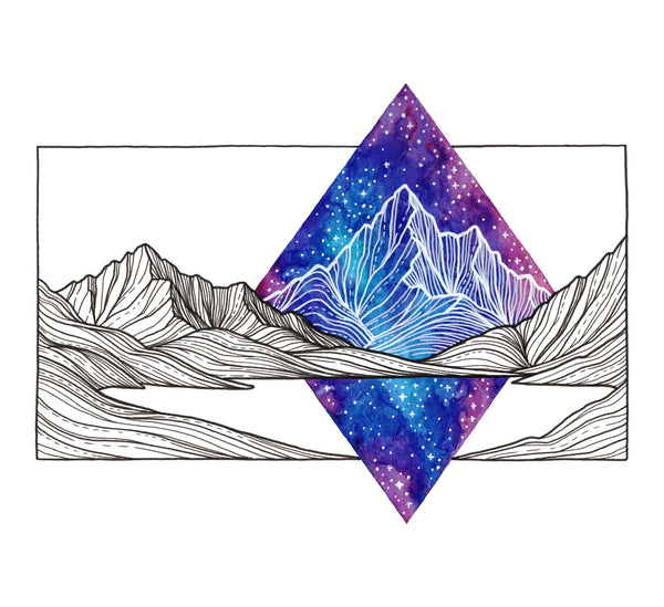 Galaxy Mountains Framed Original Drawing