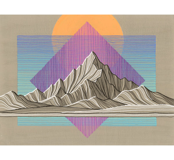 Mountain Lines III Framed Original Painting
