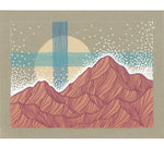Pink Mountains and Teal Lines Original Painting