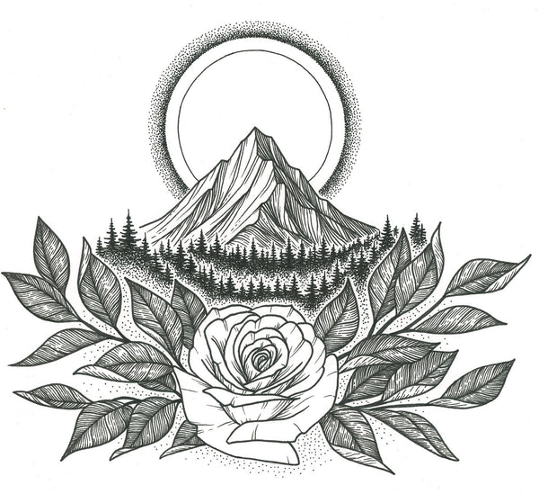 Rose and Mountain Original Drawing