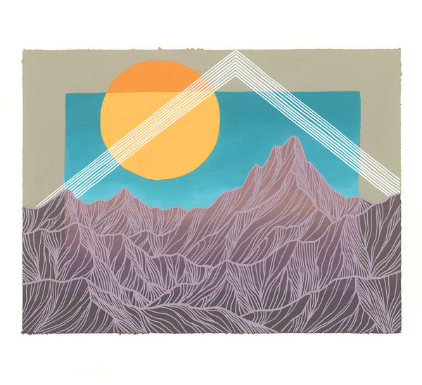 Purple Mountains with White Triangle Original Painting