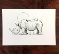 Rhinoceros and Oxpeckers Original Drawing