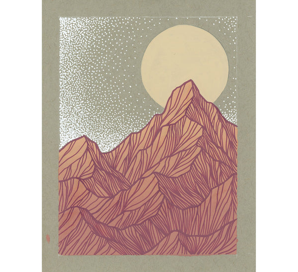 Tall Pink Mountains Original Painting