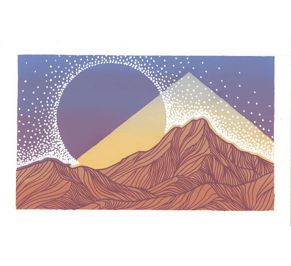 Orange Mountains with Triangle Original Painting