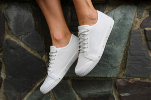 White Lace Up Casual Sneakers with Punch Leather