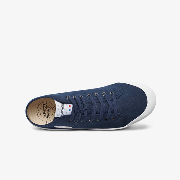 Top view mens low cut navy sneaker