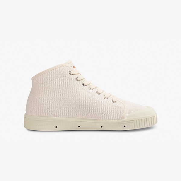 White Mens Mid Cut Sneakers Inner Side View