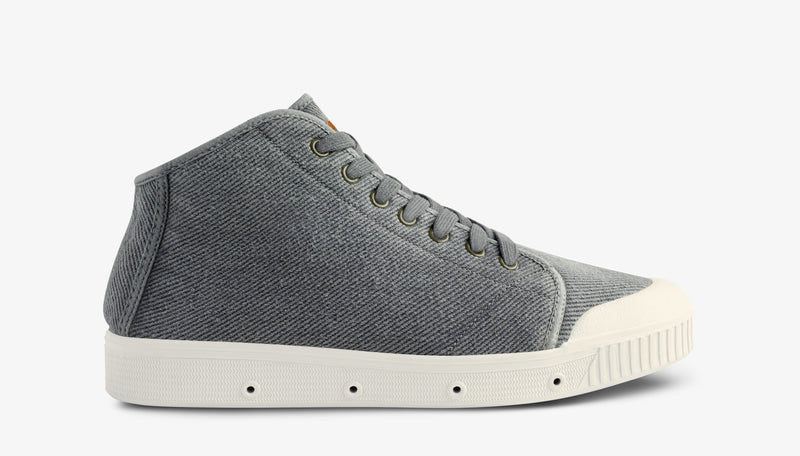 Washed Twill Mens Mid Cut Sneakers