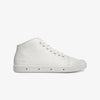 White Mid Cut Springcourt boots with embossed logo heel