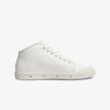 Side view mid cut white womens leather sneakers