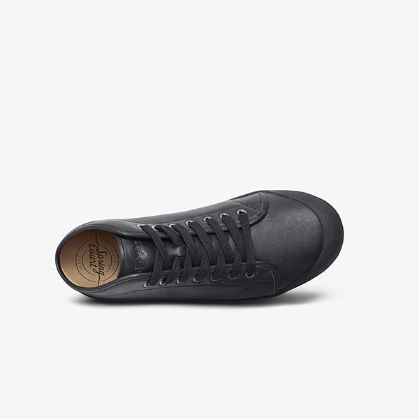 Mens Black lace up sneaker top view