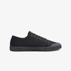 Womens Lace Up low cut black sneakers side view