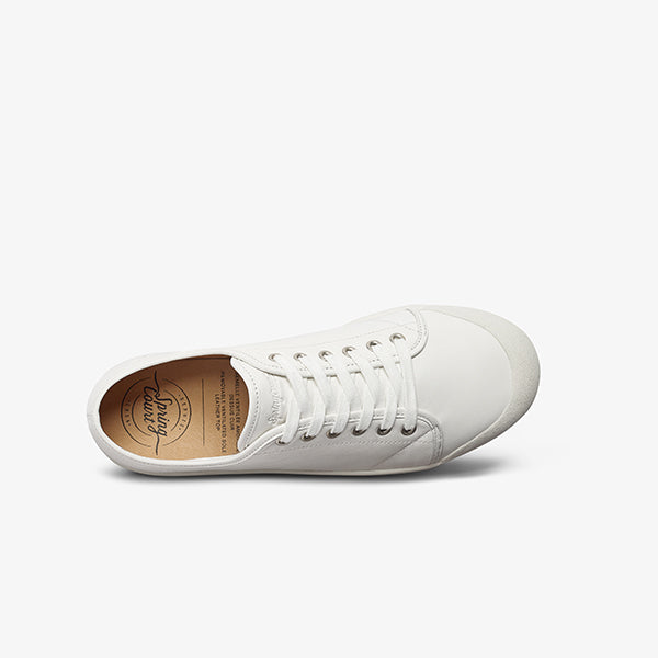 Top View Womens White Lace up sneakers