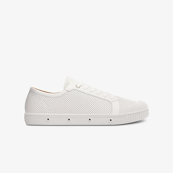 Womens punch leather sneakers in white side view