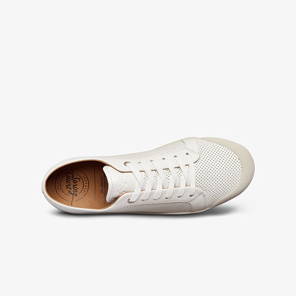 Top View Womens White Punch Leather Sneakers