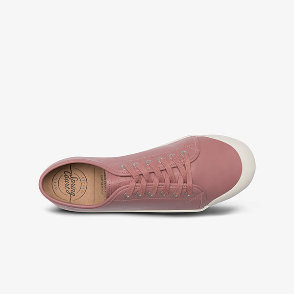 Top View Women's Goatskin Pink Leather Sneakers