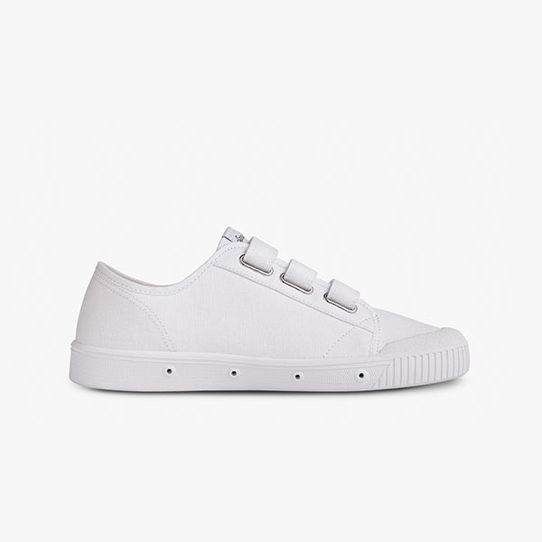 Womens Organic Scratch Canvas Low Cut White Sneakers