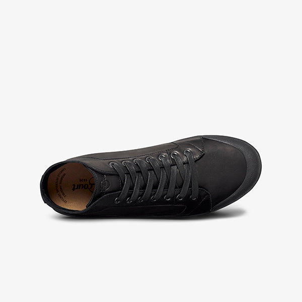 Side view of Black Leather Women's Mid Cut Sneakers