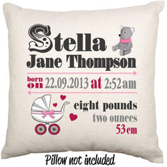 Baby Girl Newborn Baby Gift Personalised Throw Cushion - theteehouse