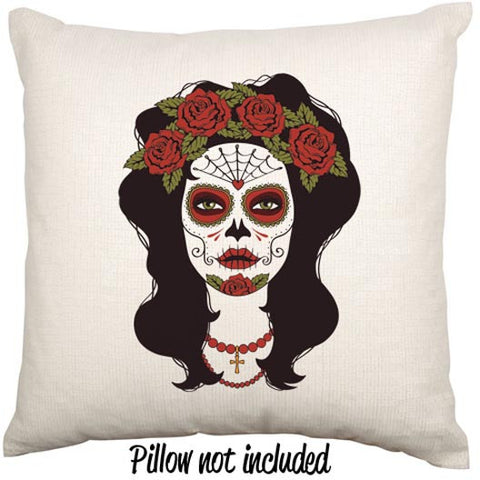 Day Of The Dead Rose Woman Throw Cushion - theteehouse