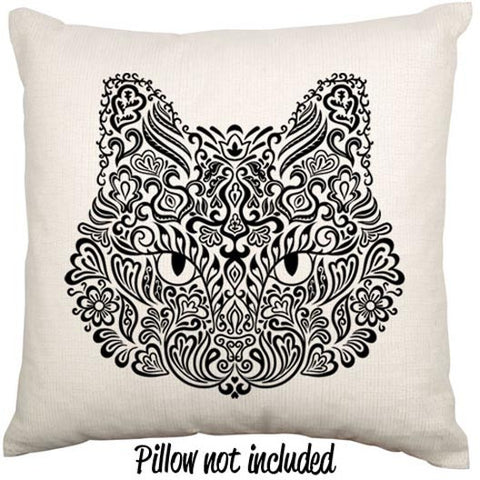 Tattoo Flash Style Cat Throw Cushion - theteehouse
