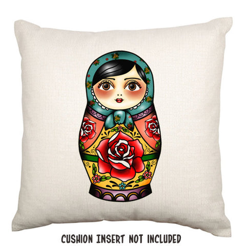 Tattoo Style Matrioshka Russian Doll Throw Cushion - theteehouse