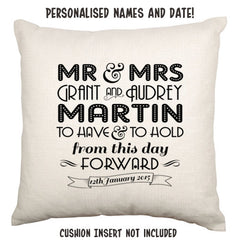 Art Deco Personalised Names and Date Wedding Throw Cushion - theteehouse