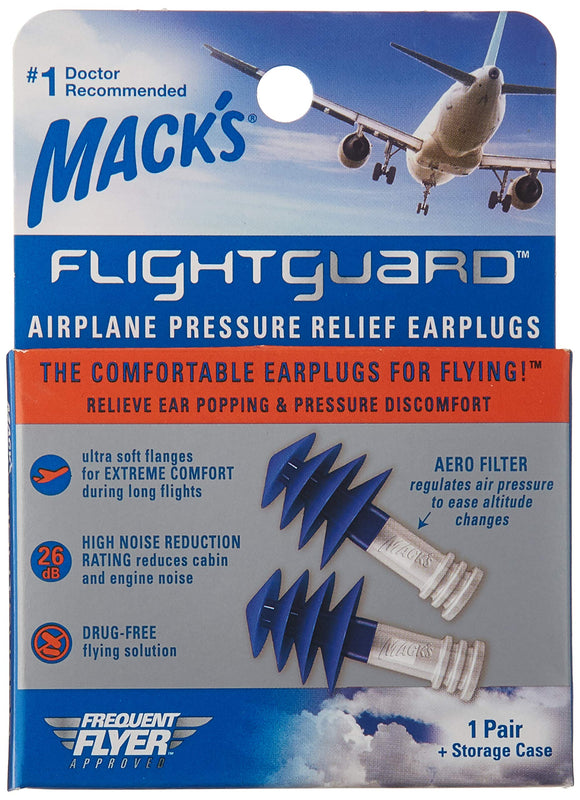 Mack's Flightguard Airplane Pressure Relief Ear Plugs - 26dB - Flying / Travel - Migraine Relief Store