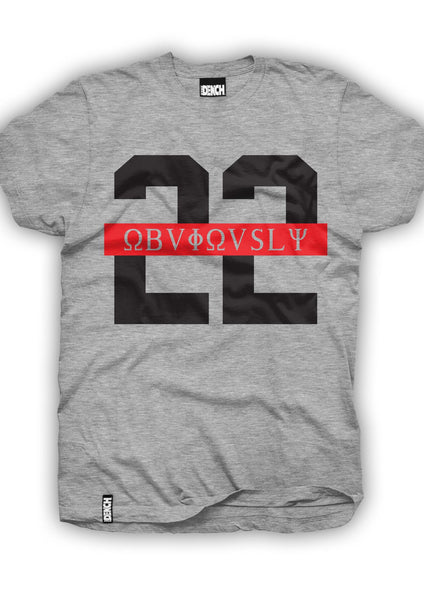 Dench 22 Obviously Red Strip Tee Grey
