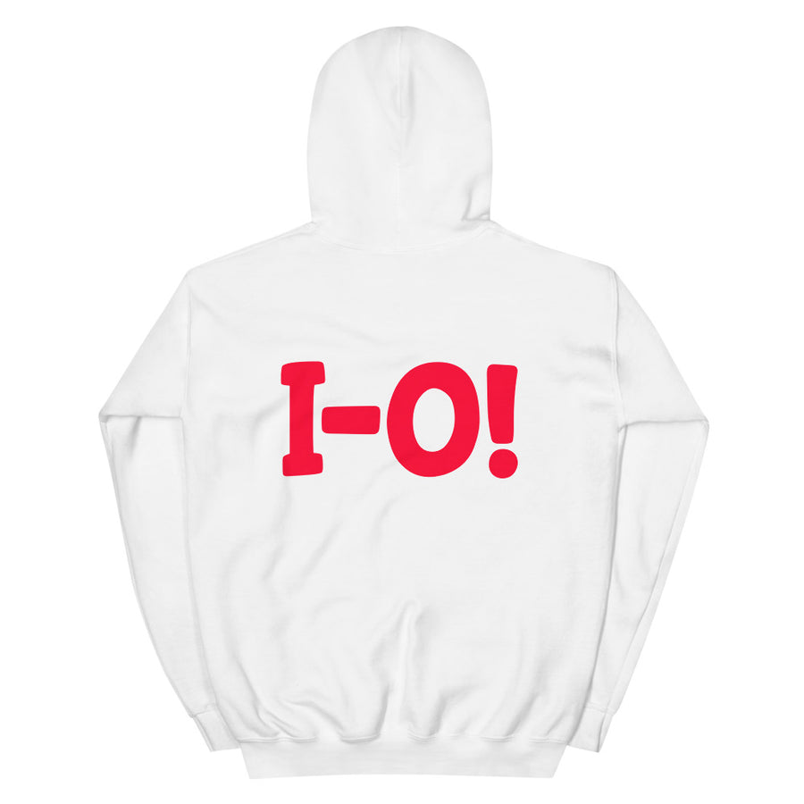 O-H! I-O! White/Black Grey or Heather FRONT AND BACK Unisex Hoodie