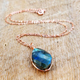 Labradorite Copper Necklace, Healing Stone Jewelry, Copper Jewelry, Bohemian Necklace, Boho Chic, bailybelle