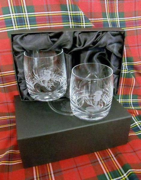 Whisky Glass set of 2 (Thistle)