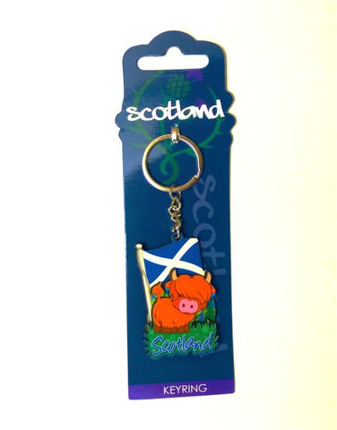 Saltire Flang & Highland Cow Wooden Keyring