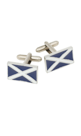 St. Andrews Saltire Enamel Cufflinks in Polished Pewter