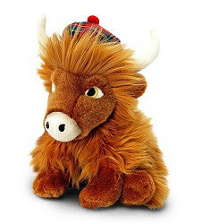 Scottish Highland Cow with Tartan Hat