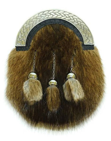 Brown Musquash Natural Fur Sporran & Chain Strap