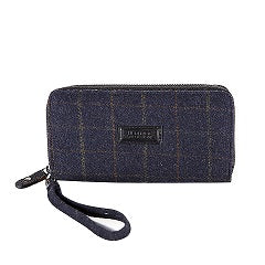 Heritage Long Zip Purse- Blue Check Tweed