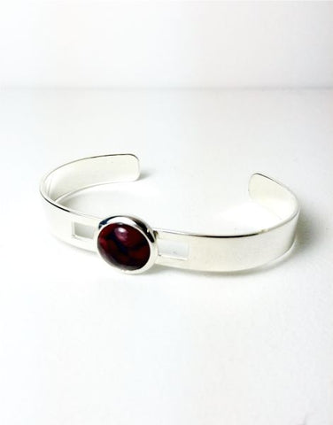Wide Wire Silver Plated Bangle