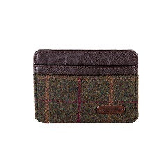 Heritage Card Holder- Green Check/Brown