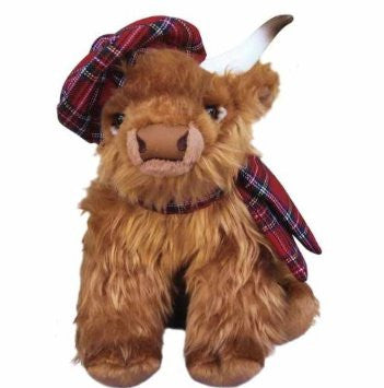 Highland Cow with Bonnet and Scarf 12""