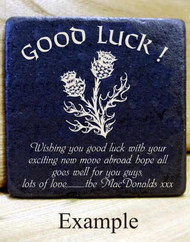 Personalised  Message Coaster GOOD LUCK